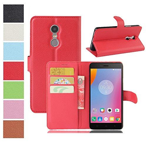 MAXKU Lenovo K6 Note Hülle, Premium PU Leder Mappen Kasten für Lenovo K6 Note Smartphone, Rot