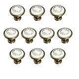 FBSHOP(TM) Set di 10 32 mm french Flair - Pomelli in ceramica dipinta a mano fiore fungo design rotondo fatto a mano da cucina armadio e cassetto manopole - Pulls/maniglia