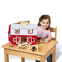 PORTABLE WOODEN BARN: The Melissa & Doug Wooden Fold & Go Barn is a portable wooden barn that comes with additional play pieces and opens wide for easy play access and closes to take it with you. The wooden handle makes it easy to transport. STURDY W...