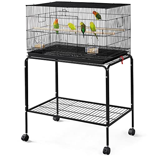 Yaheetech 47-inch Rolling Breeding Flight Bird Cages for Parakeets Budgies Finches Cockatiels Conures Lovebirds Canaries Parrots w/ Detachable Stand, Black