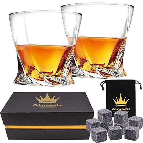 Almagic Whiskey Glass Set of 2 Lead Free Crystal Old Fashioned Glass 10oz for Scotch or Bourbon (with 9 Granite Chilling Whiskey Stones + Velvet Bag)