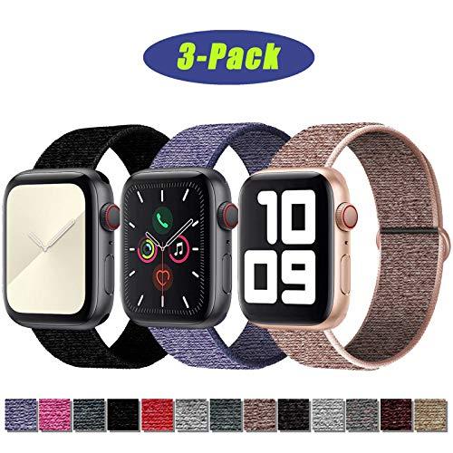 SSEIHI Correa de Apple Watch 42mm 44mm,Soft Sport Strap Reemplazo de Correa de Repuesto de Nylon Transpirable Ligero para la iWatch Serie 5/4/3/2/1,Sport+, Edition,Pink/Dark/Blue