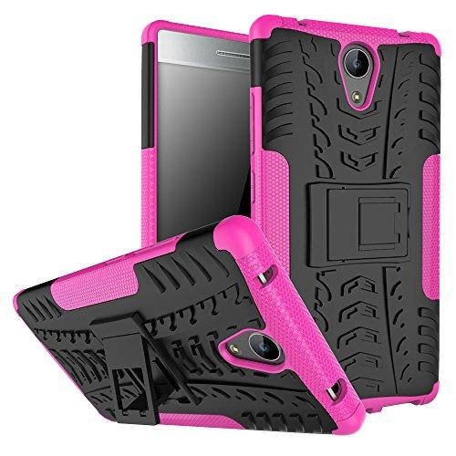 Qiaogle Teléfono Case - Shock Proof TPU + PC Hibrida Stents Carcasa Cover para Lenovo Phab 2 (6.4 Pulgadas) - HH16 / Negro & Rose