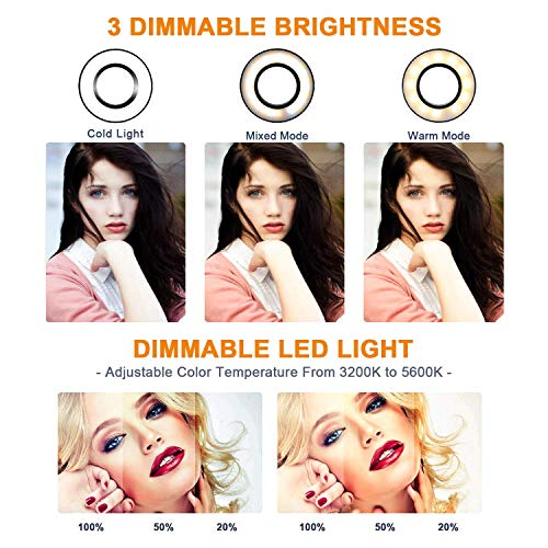 GLCON Selfie Ring Light with Tripod Stand for Live Stream - LED Ring Light with Cell Phone Holder for iPh   one Samsung Android - Dimmable Makeup Light with 3 Light Mode 10 Level Brightness for YouTube