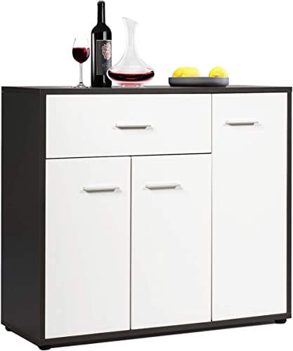 """discount Giantex wholesale Buffet Sideboard, Kitchen Storage Cabinet, Console Table Cupboard with Drawer, Adjustable Shelf, Tableware Organizer, Entryway and Dining lowest Room Furniture 34.5""""LX12""""WX 27.5""""H (White & Brown) online"""