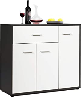 Giantex Buffet Sideboard, Kitchen Storage Cabinet, Console Table Cupboard with Drawer, Adjustable Shelf, Tableware Organizer, Entryway and Dining Room Furniture (White & Brown)