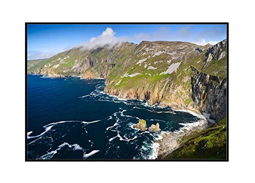 Slieve League Cliffs, County Donegal, Ireland 9019114 (36x24 Framed Gallery Wrapped Stretched Canvas)