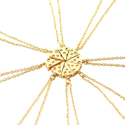 7Morning Circular Cheese Stitching Necklace Into 8 Pcs Pizza Pendant for Besties and Friends