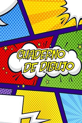 Cuaderno de Dibujo: Libreta para practicar dibujos estilo comics, 6 x 9 in, 120 pp, papel blanco con recuadros tipo historieta