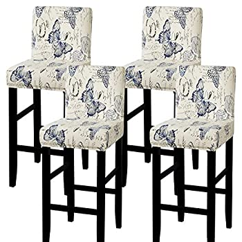 SearchI Stretch Bar Stool Covers Stretch Removable Washable Printed Bar Stool Chair Covers Counter Height Chairs Covers for Kitchen Dining Room Cafe Furniture