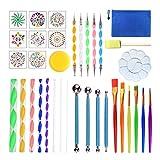 JIABAN Kit de 35 piezas de herramientas para pintar con forma de mandala, para pintar rocas, colorear, dibujar y dibujar