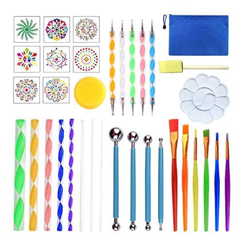 Kit de herramientas de punteado de mandala, juego de plantillas de pintura de punto de roca, arte de lienzo, pincel para arte de uñas, arte de cerámica, acuarela, gouache, pintura al óleo.