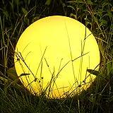 Albrillo RGB Luz Solar de Jardín - Iluminación Exterior LED de Globo de 40cm, Lámpara Esfera con 8 Colores Ajustables, IP68 Impermeable, Carga por Solar y USB, Luz Solar para Césped, Piscina, Patio