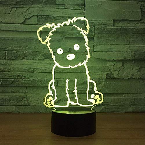 Luz tridimensional para perros, luz nocturna 3D, juguete para niños, lámpara de mesa táctil 3D LED, 7 colores, LED intermitente, decoración del hogar, regalo de fiesta