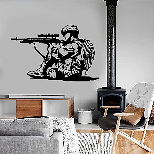 Adhesivo de pared de soldado de la guerra del ejército rifle de coraje rodaje vinilo pegatinas de pared murales extraíbles decoración moderna del hogar dormitorio de niños 65 x 42 cm