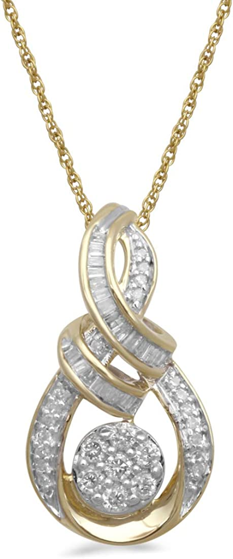 Jewelili 10K Yellow Gold 1/4 Cttw Natural White Baguette and Round Diamond Cluster Pendant Necklace, 18