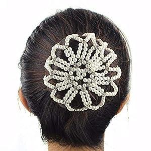 Lurrose - Redecilla para el pelo con perlas elásticas y diamantes de imitación, color blanco