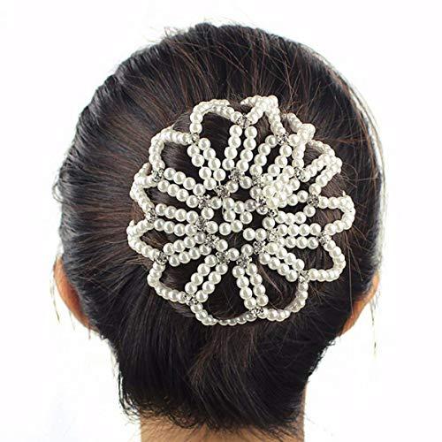 Lurrose Elastiques Filet de Snood pour Cheveux de Perles Couverture Chignon avec Strass (blanc)