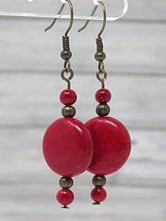Orecchini rossi stile Zen in bronzo antico e perle piatte in turchese ricostituito