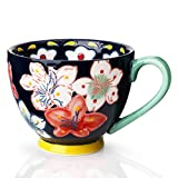 Ceramic Coffee Mug, Awanber Big Size Hand Made Coffee Milk Tea Cup - Best Birthday Christmas Gifts for Women, Girls - Mother's Day Gifts for Mom, Wife, Daughter, Friend - Blue