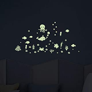 Glow in The Dark Ocean Wall Decal,The Sea Fish Luminous Stickers for Kids Boys Girls Nursery Bedroom Mural Decor