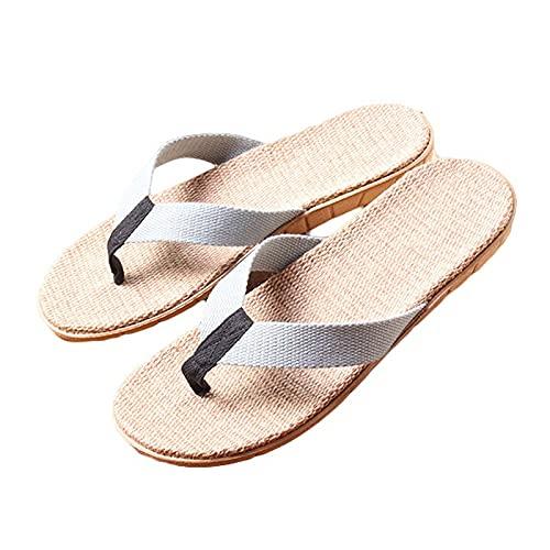 XuuuuLian Summer Men Slippers Slippers Fabric Webbing Flax Flip Flops Flat Sin Slip Slippers Hombre Sandalias de Playa (Color : Gray, Shoe Size : 8)