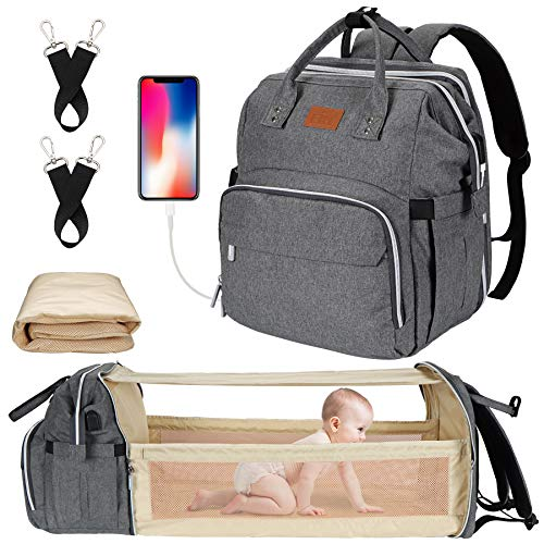 Diaper Bag with Changing Station, Baby Diaper Bag, Backpack Diaper Bag, Baby Bag with Built-in USB Charging Port and Stroller Straps Large Capacity Waterproof (Grey)