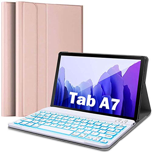 REAL-EAGLE Galaxy Tab A7 10.4 2020 Backlit Keyboard Case(SM-T500/T505/T507), Premium Leather Case with 7 Colors Detachable Bluetooth Wireless Keyboard for Samsung Galaxy Tab A7 10.4 (Pink)