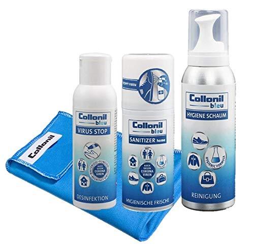 Collonil Bleu Set mit Handdesinfektionsmittel, Flächendesinfektionsmittel, tiefenwirksamen Hygieneschaum & Microfasertuch