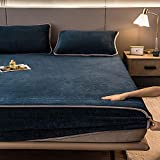YFGY Resistant Deep Pocket Bed Sheet for Mattress Full,Cartoon Print Bed Sheets Elastic Home Coral Fleece, Mattress Cover Winter Warm Bed Sheet Moonlight Blue 150200cm