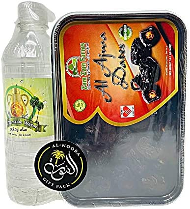 Al AJWA Dates 400g with Zam Zam Water 500ml and Imported from Makkah AL NOORA GIFT PACK product image