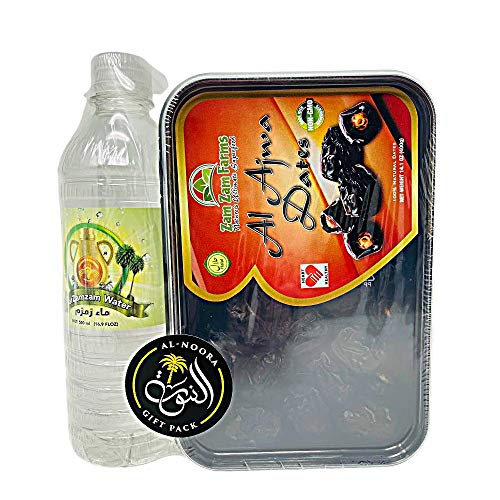 Al AJWA Dates 400g with Zam Zam Water 500ml and Imported from Makkah, AL-NOORA GIFT PACK