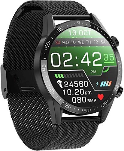zfj Relojes Inteligentes Pulseras Deportes Bluetooth Tiempo Real Monitoreo de la Temperatura Monitoreo de Salud IP68 Impermeable Plata Negro