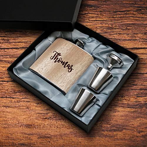 Holz Flachmann mit persönlicher Gravur Name Set Geschenkset Alkohol Geschenk Zubehör Männer Frauen lustig eigener Text Widmung Paare Liebe