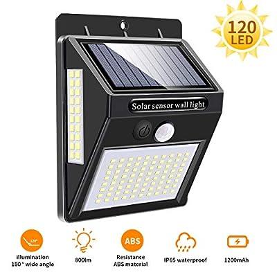Outdoor Solar Light 120 LED, Mewtwo Outdoor Solar Led Spotlights with Motion Sensor Waterproof 180º Angle of Lighting Outdoor Solar Led Garden Lights (Updated 800 Lumens?
