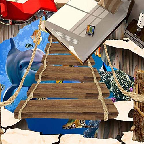 Fotobehang 3D-effect De onderwaterwereld van de klantspecifieke vloerbedekking 3D Grub De zelfklevende vloerbedekking De bamboe dolfijn-tattoo schilderij van de woonkamer 3D buiten 120x100cm