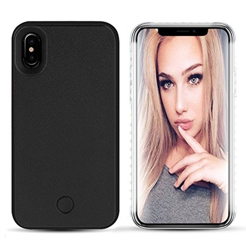 iPhone X LED case – Avkkey iPhone X selfie luce iPhone case Great for a Bright selfie and FaceTime illuminato luce Up custodia cover per iPhone X (Nero)