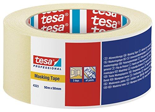 Tesa UK Ltd - Nastro per mascheratura per interni, rimovibile fino a 3 giorni dopo senza residui, confezione da 3 rotoli, 50 mm x 50 m, 6 pezzi