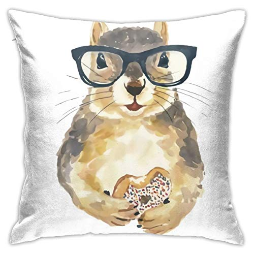 Antvinoler Squirrel Print Nerdy Squirrel Sprinkle Donut Hipster Glasses Pillows Case Soft Throw Pillow Double-Sided Digital Printing Couch Pillowcase Square 45cm45cm