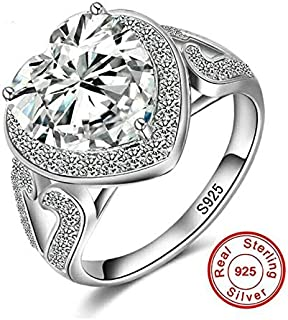 Tanakorn Classic Luxury Real Solid 925 Sterling Silver Ring 3Ct 10 Hearts Platinum Color 8