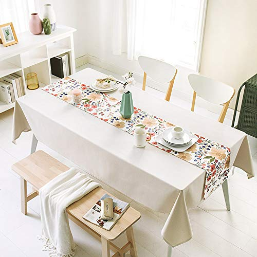 Generico Frische Baumwolle und Leinen wasserdicht und ölbeständig farbige Blatt Tischläufer, Tischdekorationstuch für Wohnzimmer Langen Tisch 28x160cm