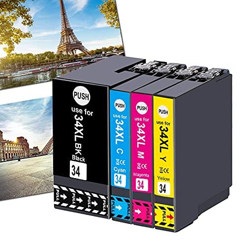 OGOUGUAN 34XL - Cartuchos de tinta compatibles con Epson Workforce Pro WF-3725DWF WF-3720DWF, 4 colores T3476 (1 negro, 1 cian, 1 magenta, 1 amarillo)
