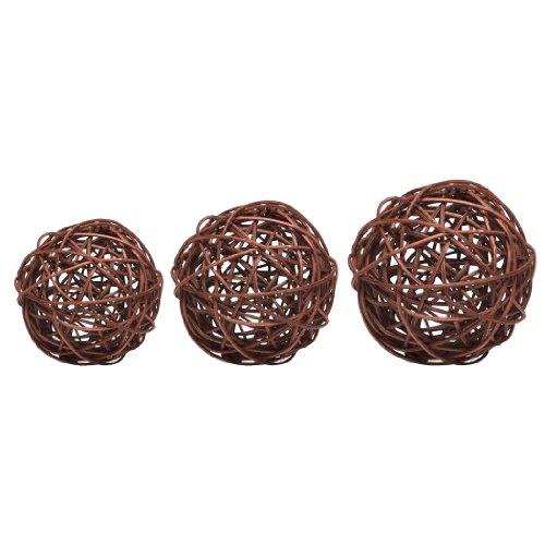 DIGE n27sc08/17 - Un sachet de 9 boules rotin chocolat de diamètre 3-4-5 cm