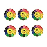 MrQU 6 PCS Rainbow Sunflower Brooch Pins Smiley Face Pin Premium Handmade Enamel Laple Pin for Clothing Bags Backpacks Jackets Hat (Sunflower)