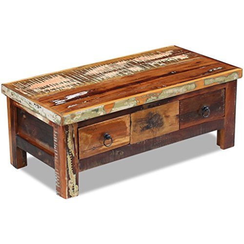 Festnight Rustic Coffee Table with 2 Drawers Reclaimed Wood...