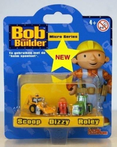 Bob der Baumeister / Bob the Builder - 40508 - Micro Series - Die-Cast - 3-Pack - mit Scoop / Baggi, Dizzy / Mixi und Roley / Rolli - Länge der Modelle: ca 2,5 cm