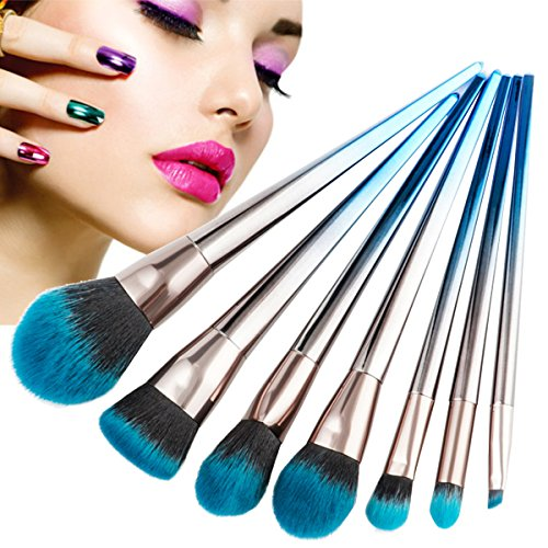 Juego de cepillo de maquillaje de 7 piezas de Luckyfine, Cerdas de fibra sintética suaves