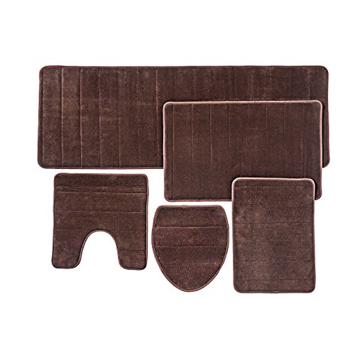 Over the Floor Bathroom Rug Mat, 5-Piece Set Memory Foam, Extra Soft Non-Slip Back (Brown)