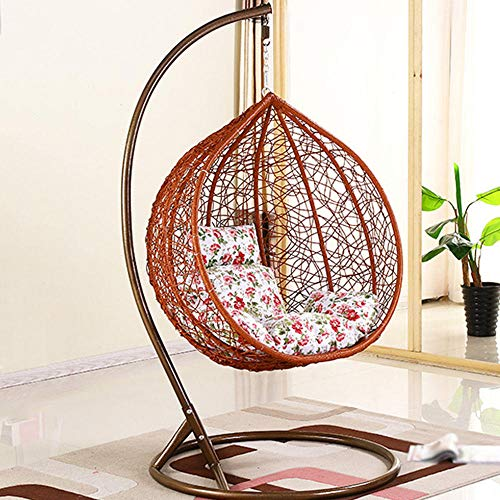 QPALB Hanging Egg Chair with Stand 185 * 106cm with Cushion and Pillow Garden Swing 250kg for Indoor Balcony Outdoor-D.