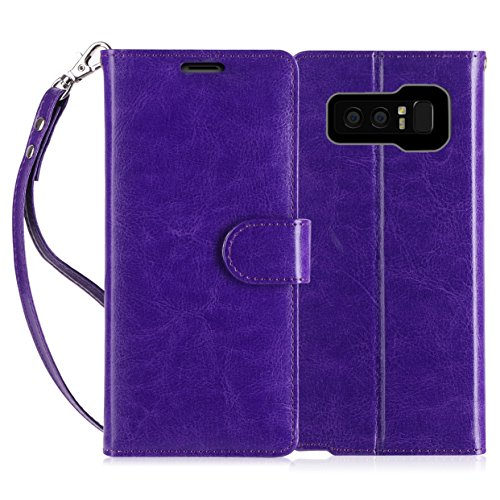 FYY Luxury PU Leather Wallet Case for Galaxy Note 8, [Kickstand Feature] Flip Folio Case Cover with [Card Slots] and [Note Pockets] for Samsung Galaxy Note 8 Purple
